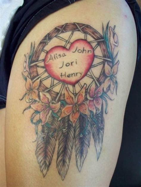 dream catcher tattoo with names dreamcatcher tattoos for tattoos