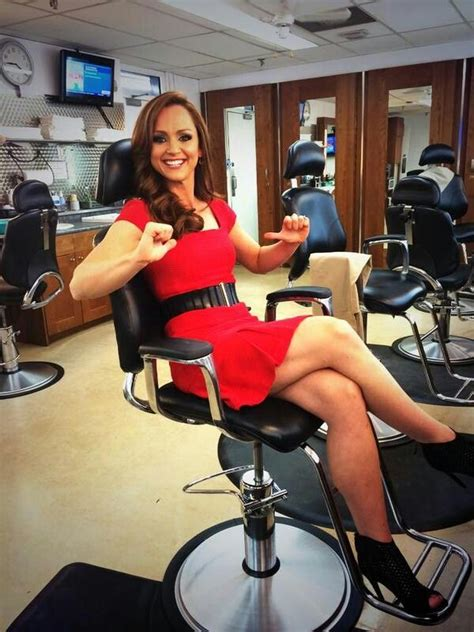 female in barber chair getting buzzcut kate beirness 29 canadian tsn sportscaster anchor from