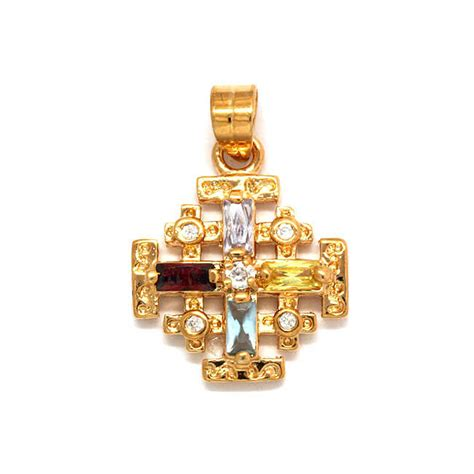 jerusalem cross pendant gold filled with colored crystals