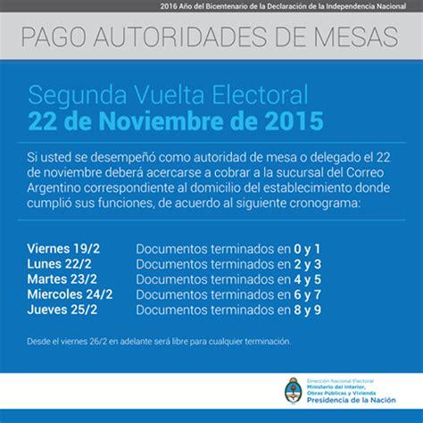 cobro de autoridades de mesa elecciones 2015 argentina