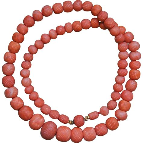 coral bead necklace antique carved coral pineapple bead necklace from