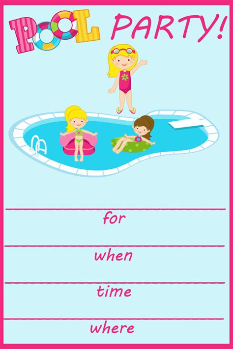 items similar to pool party fill in birthday invitation on