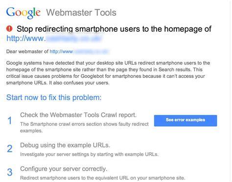google images redirect notice google webmaster warnings for stop redirecting smartphone