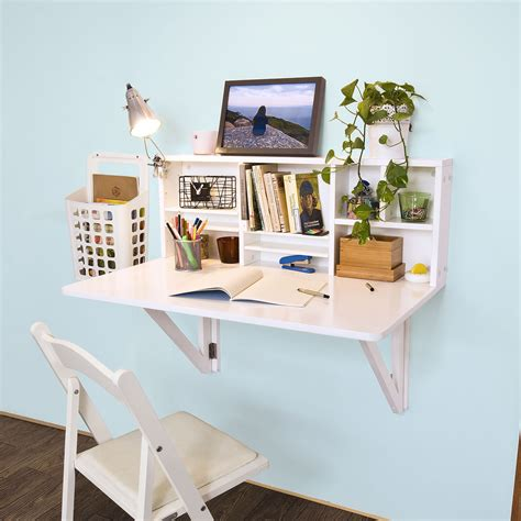 Wall Mounted Desk Fold Away Study Table Painted With White