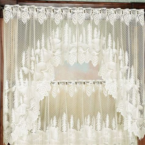 pine cone curtains pine cone lace tier window treatment