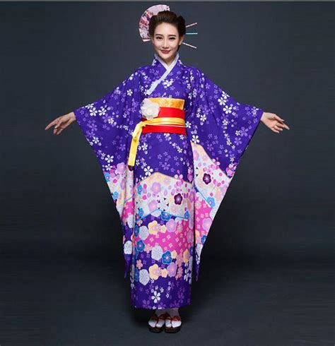 Dress Obi 2in1 Flower high fashion purple japanese national kimono traditional yukata with obi vintage evening