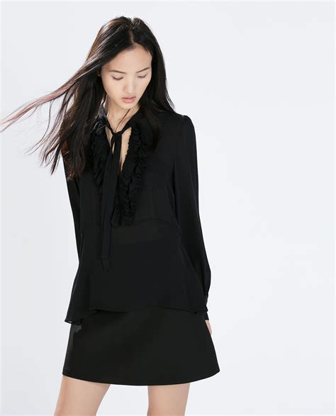 Black Blouse black blouse with bow collar clothing