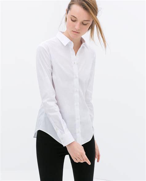 zara pleated poplin shirt in white lyst