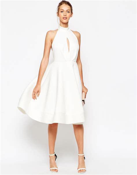 White Neck Dress lyst asos halter neck midi dress with plunge in white