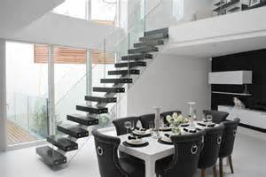 Outdoor Banister Railing Elegant Middle Spine Staircase In Black And White Modern