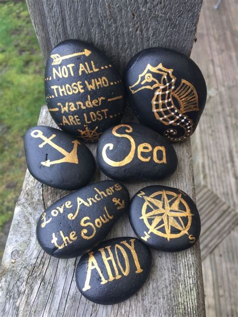 Deco Maison Bord De Mer 1344 by Nautical Set Of 7 Black And Gold Painted Pebbles Ebay