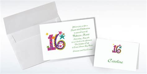 Custom Note 16 custom colorful sweet 16 invitations thank you notes