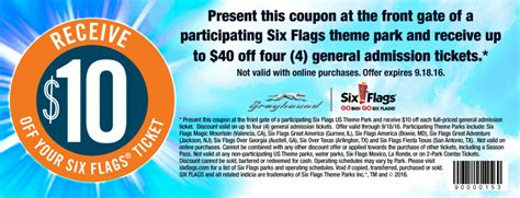 Six Flags Coupons Printable And Online Coupon Code