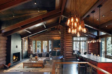 log home lighting design rustic and contemporary interior design by trulinea