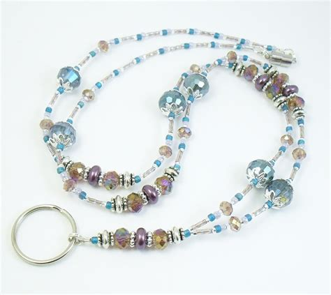 lanyard bead beaded lanyard turquoise and purple sparkly beaded id