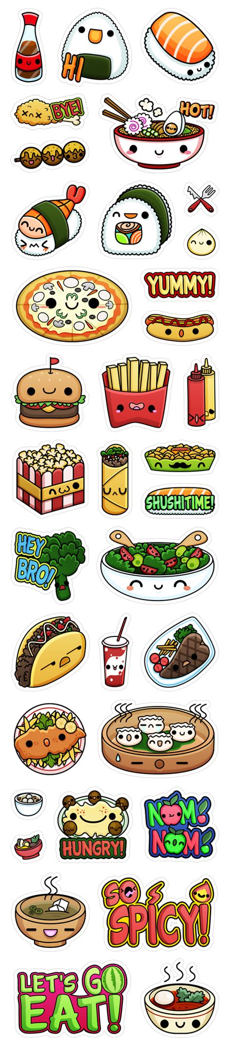 viber doodle drawing viber s kawaii food stickers squid pig ilustradores kawaii