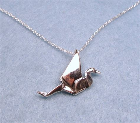 Silver Origami Crane Necklace - origami peace crane necklace sterling silver