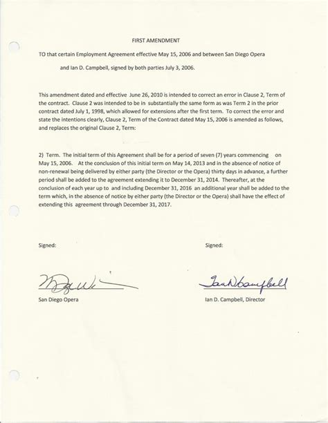 Contract Of Employment Amendment Letter Ex San Diego Opera Chief Didn T Stand To Gain Financially If Company Closed Kpbs