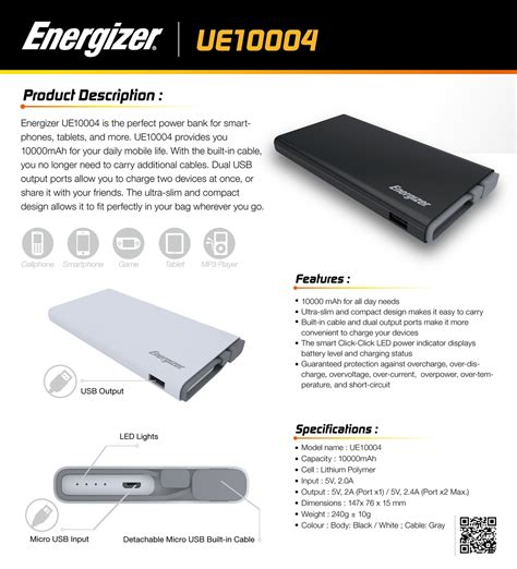 Power Bank Energizer energizer ue10004 10000mah power bank