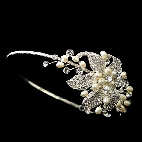 rhinestone pearl floral bridal headband elegant bridal