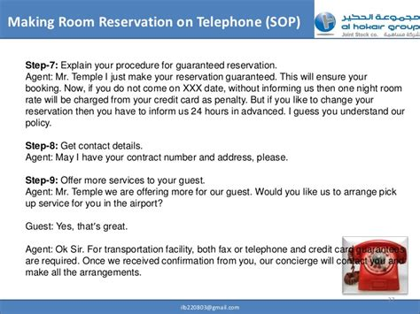 make hotel reservation without credit card professional telephone etiquette