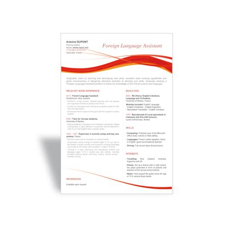 word cv resume template foreign language assistant