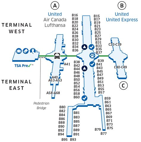 denver international airport map denver international den airport map united airlines