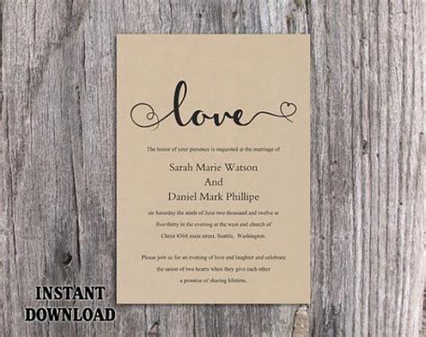 printable heart invitation diy burlap wedding invitation template editable word file