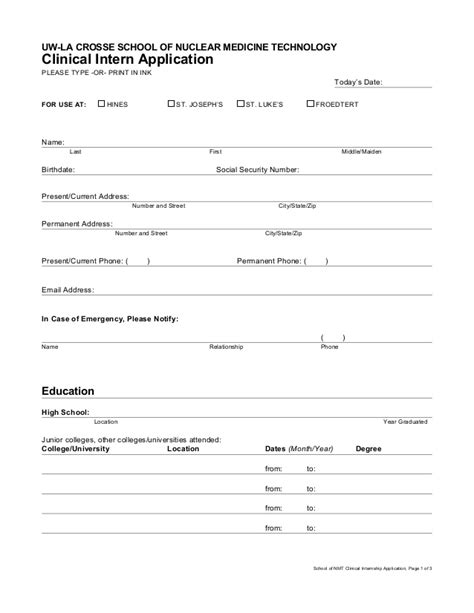Application Form Internship Application Template