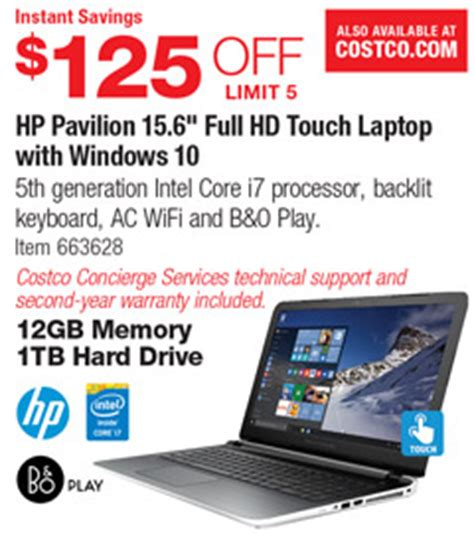 """costco deal hp pavilion 15.6"""" full hd touch laptop with"""