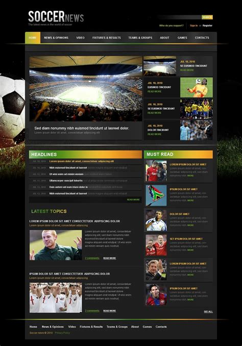 soccer website template web design templates website