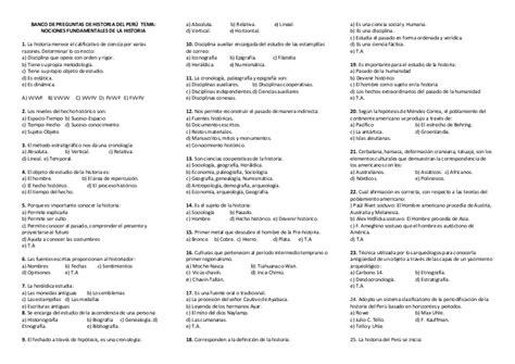 preguntas de geografia del peru banco de preguntas de historia del per 250 tema
