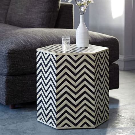 bone inlay side table bone inlaid faceted side table west elm