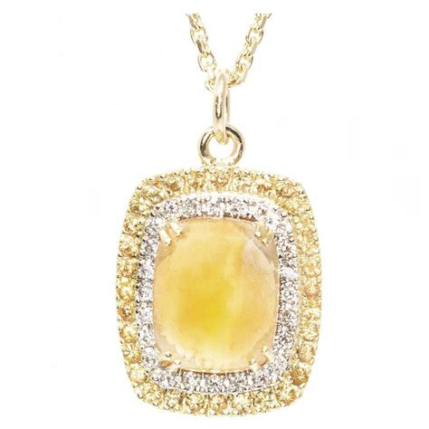 citrine yellow sapphire gold pendant necklace at