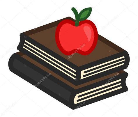 inicio libros de dibujos animados vector de stock manzana en dibujos animados de libros vector de stock
