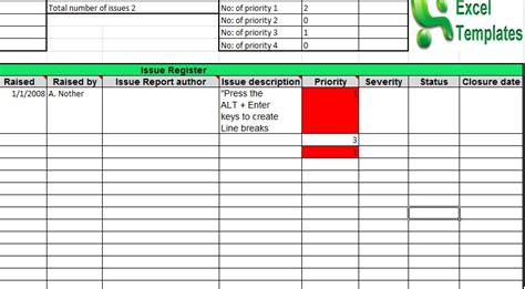 issue log template excel prince2 issue log prince2 templates