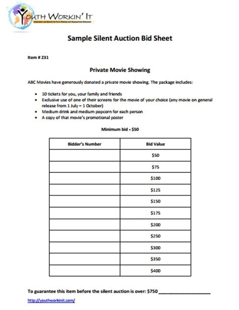 pay to bid auction 12 silent auction forms template templates assistant