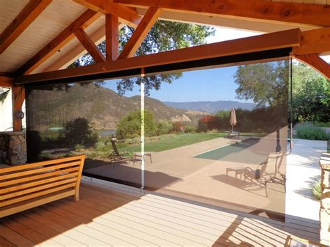 Outdoor Roller Awnings Outdoor Screen Roller Shades Rustic Los Angeles By