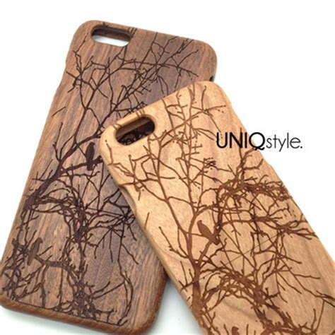 Archi Wood Iphone 5c Custom Flip Cover birds on tree engraved wood for iphone 6 iphone 4 4s