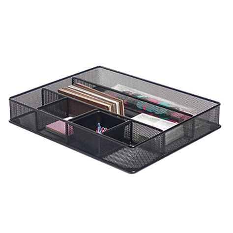 Office Depot Desk Organizers Brenton Studio Metro Mesh Large Drawer Organizer 2 716 H X 15 18 W X 11 910 D Black By Office