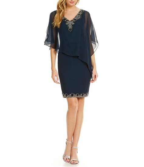 jkara v neck beaded asymmetrical capelet dress dillard s