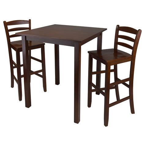 High Table With 2 Stools by Parkland High Table With 2 Ladder Back Stools By Winsome