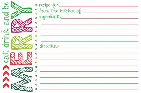printable recipe for love cards printable holiday recipe card