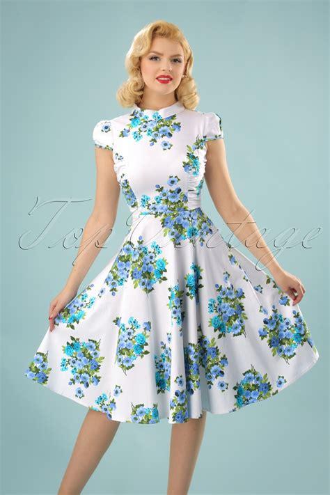 60s swing dress 60s doll floral swing dress in white
