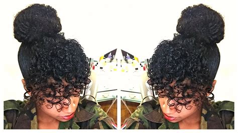 curly hair in high bun with bang curly bangs faux bun natural hair tutorial youtube