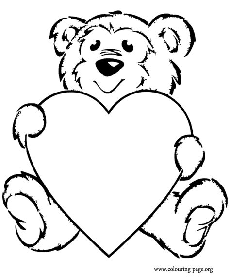 Teddy Bear Holding A Heart Coloring Page | bears teddy bear with a heart coloring page