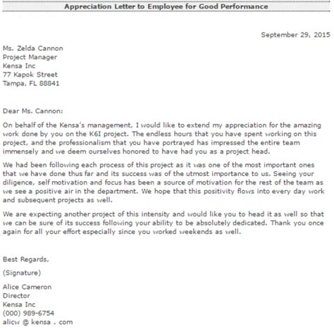 appreciation letter for employee appreciation letter for work docoments