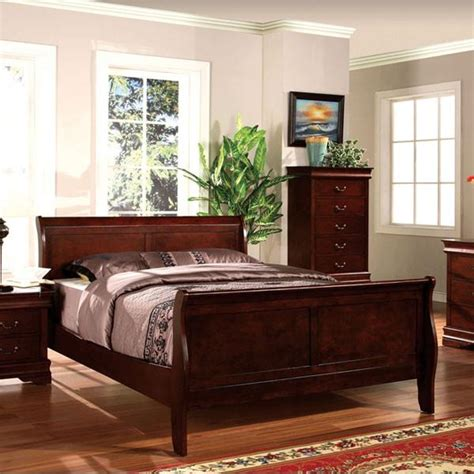 louis philippe traditional cherry queen sleigh bed 4 piece bedroom louis philippe classic cottage style dark cherry finish