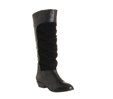 office nia suede ruched boot black leather suede knee boots