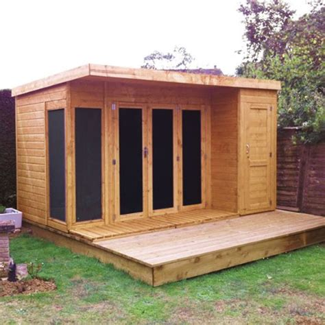 12x8 t g wooden contemporary summerhouse with side storage shed by waltons house and garden
